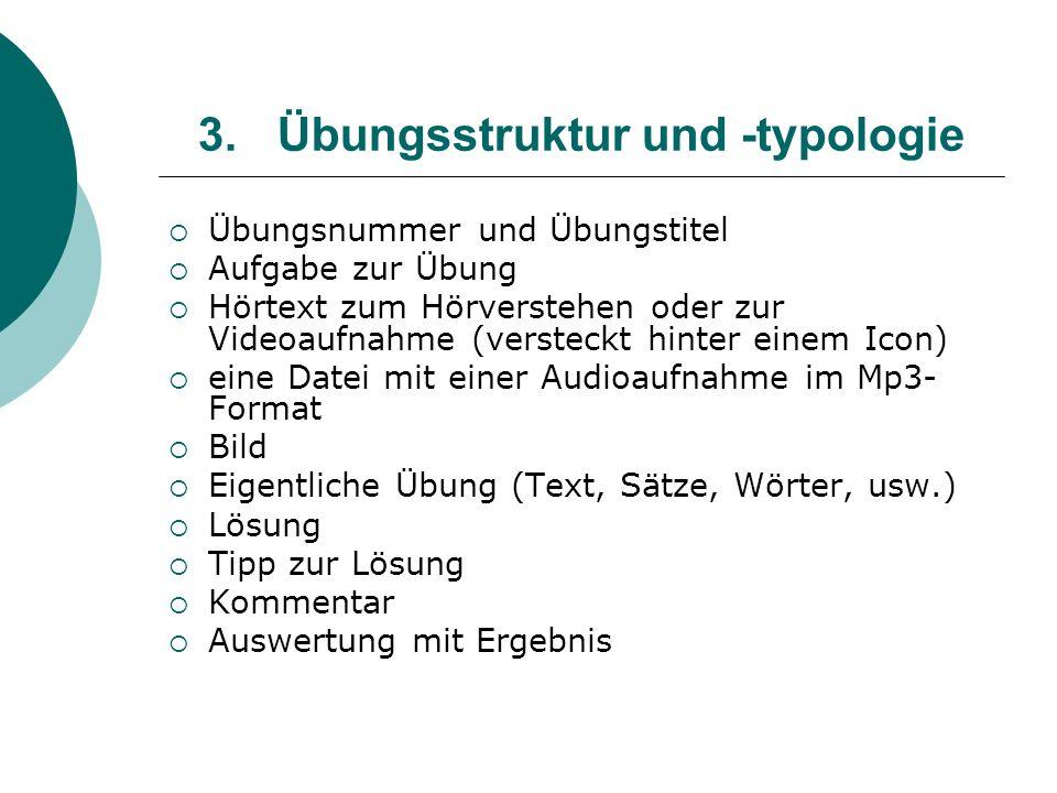 Übungsstruktur und -typologie