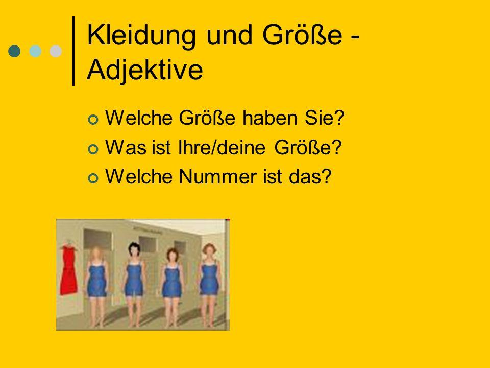 Kleidung und Größe - Adjektive
