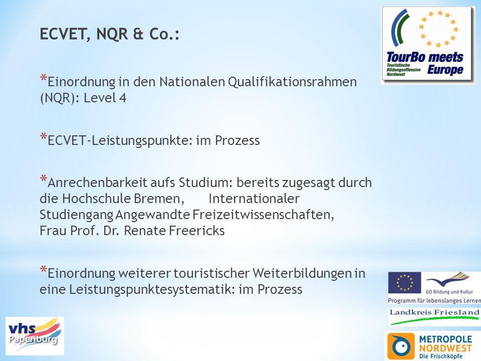ECVET, NQR & Co.:Einordnung in den Nationalen Qualifikationsrahmen (NQR): Level 4. ECVET-Leistungspunkte: im Prozess.