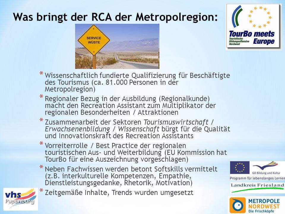 Was bringt der RCA der Metropolregion: