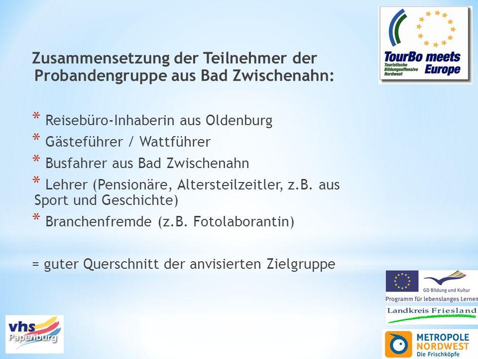 Zusammensetzung der Teilnehmer der Probandengruppe aus Bad Zwischenahn: