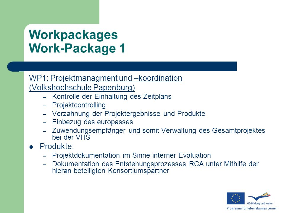 Workpackages Work-Package 1
