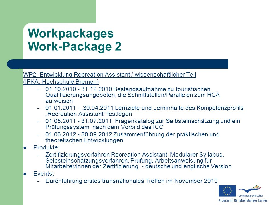 Workpackages Work-Package 2
