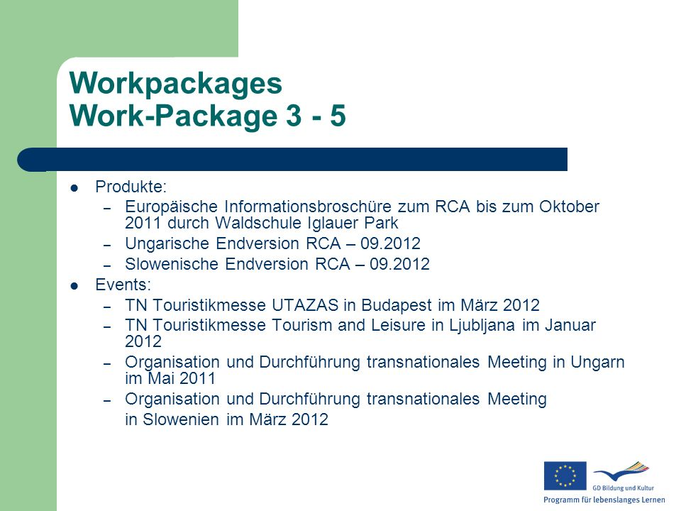 Workpackages Work-Package 3 - 5