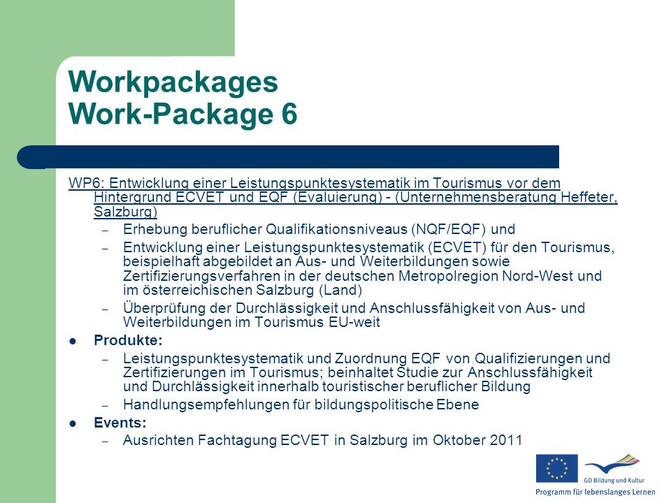 Workpackages Work-Package 6