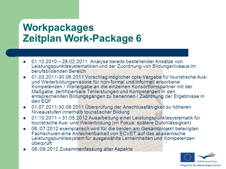 Workpackages Zeitplan Work-Package 6