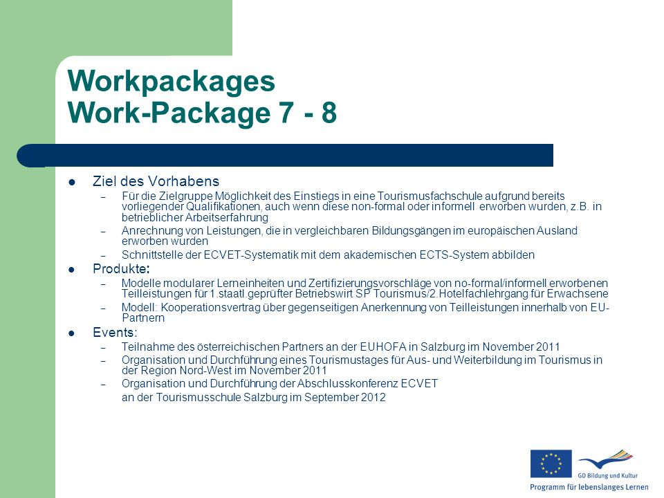 Workpackages Work-Package 7 - 8