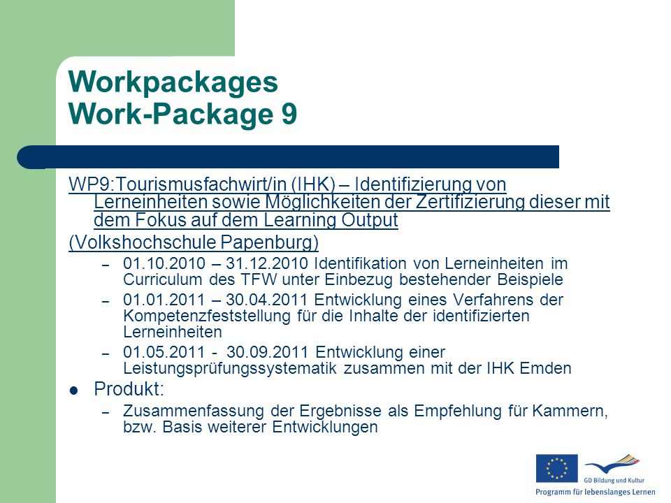 Workpackages Work-Package 9