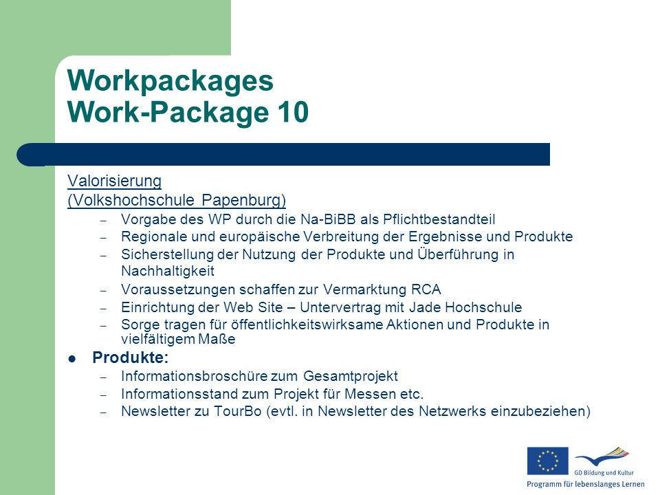 Workpackages Work-Package 10