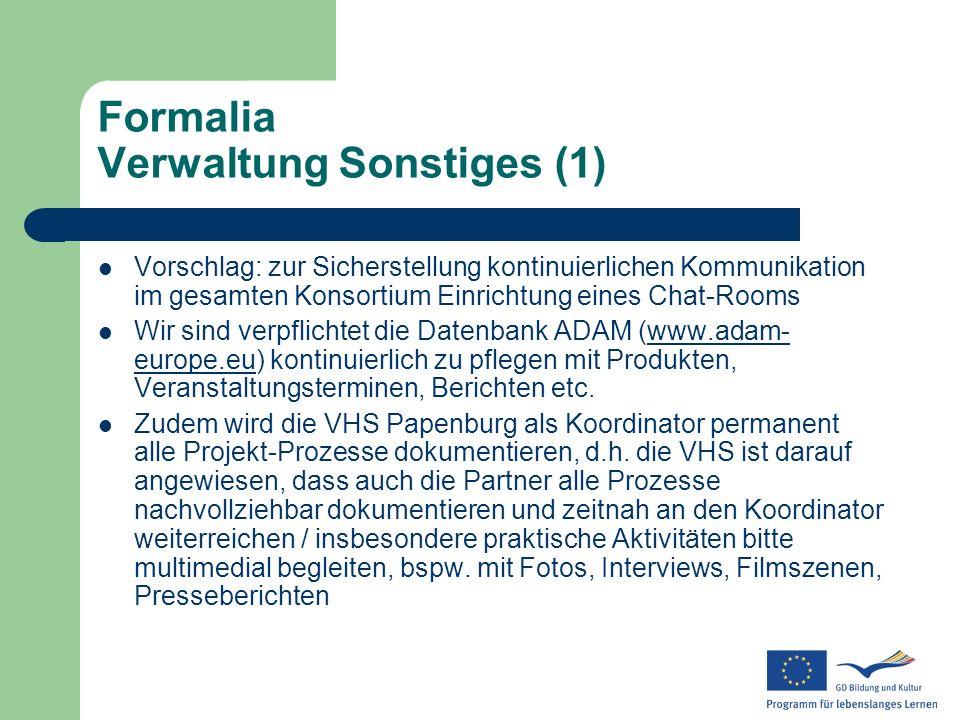 Formalia Verwaltung Sonstiges (1)