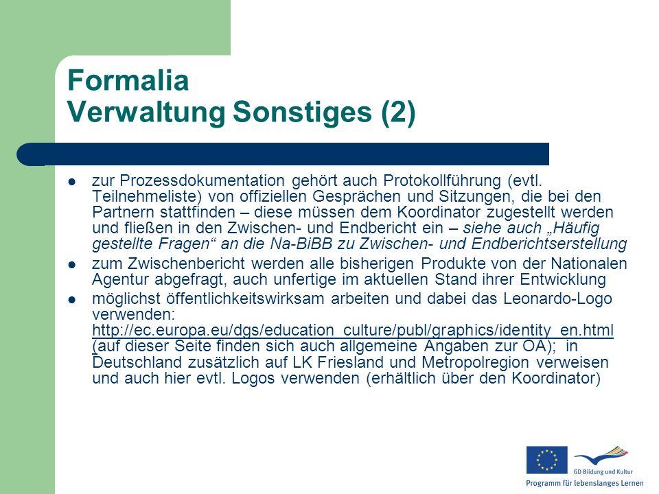 Formalia Verwaltung Sonstiges (2)