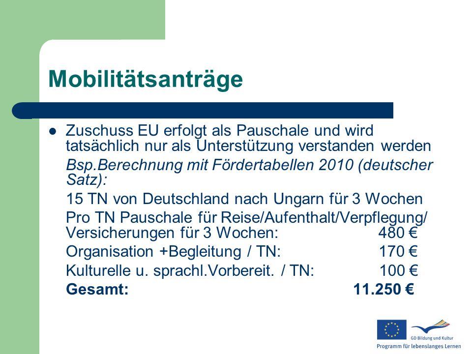 MobilitätsanträgeZuschuss EU erfolgt als Pauschale und wird tatsächlich nur als Unterstützung verstanden werden.