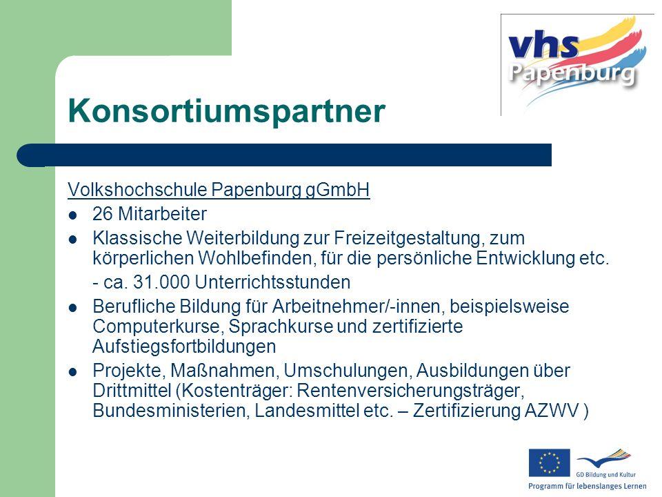Konsortiumspartner Volkshochschule Papenburg gGmbH 26 Mitarbeiter