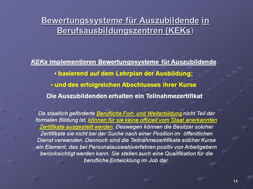 Bewertungssysteme für Auszubildende in Berufsausbildungszentren (KEKs)