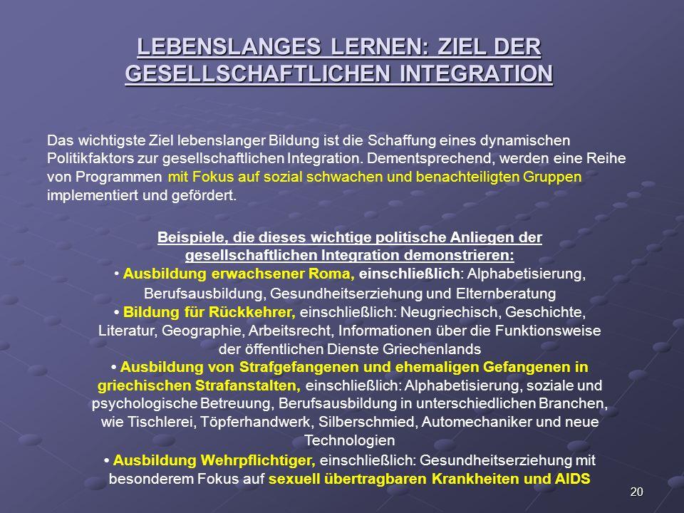 LEBENSLANGES LERNEN: ZIEL DER GESELLSCHAFTLICHEN INTEGRATION