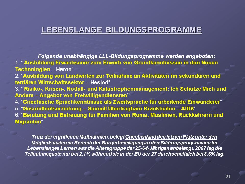 LEBENSLANGE BILDUNGSPROGRAMME