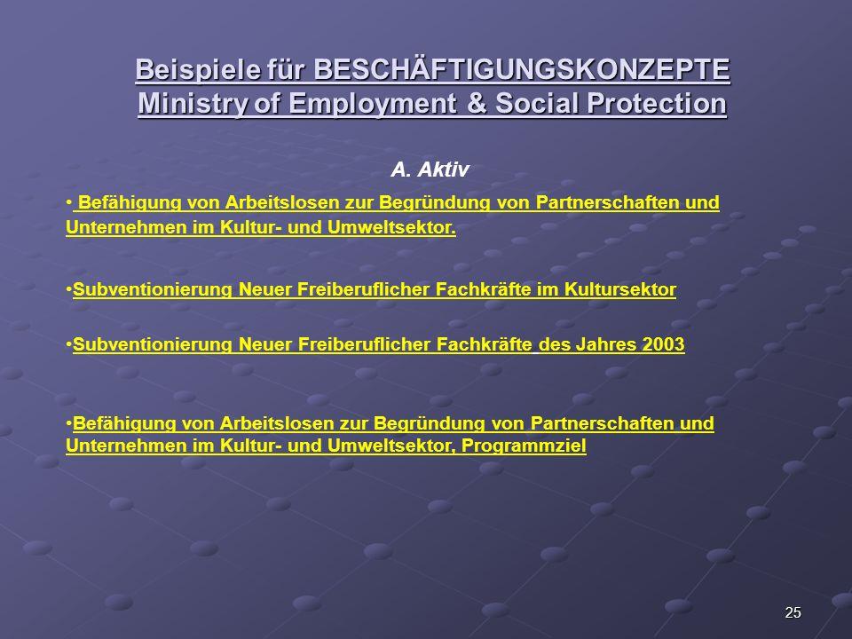 Beispiele für BESCHÄFTIGUNGSKONZEPTE Ministry of Employment & Social Protection