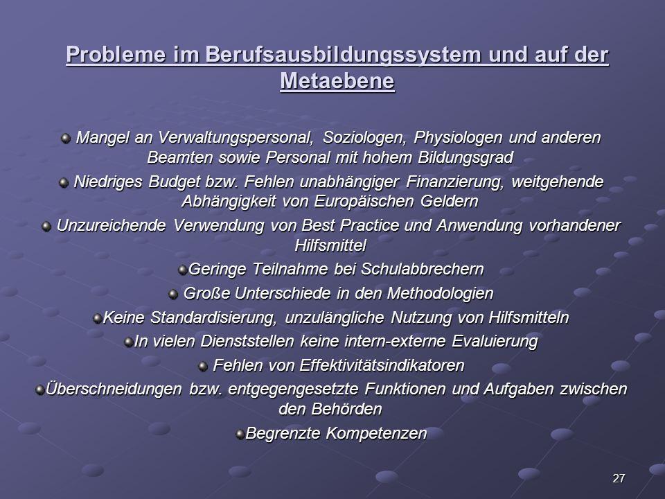 Probleme im Berufsausbildungssystem und auf der Metaebene