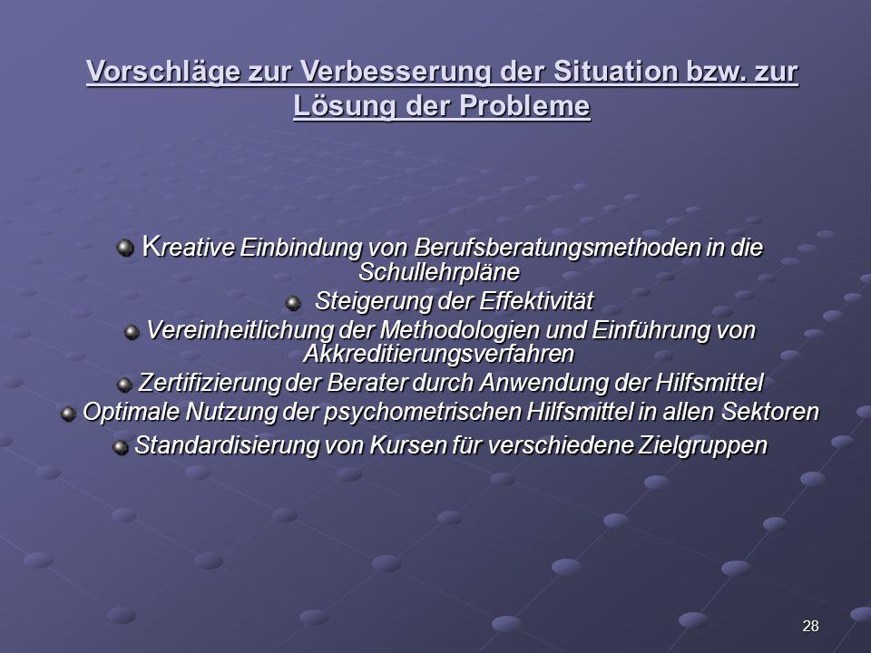 Vorschläge zur Verbesserung der Situation bzw. zur Lösung der Probleme
