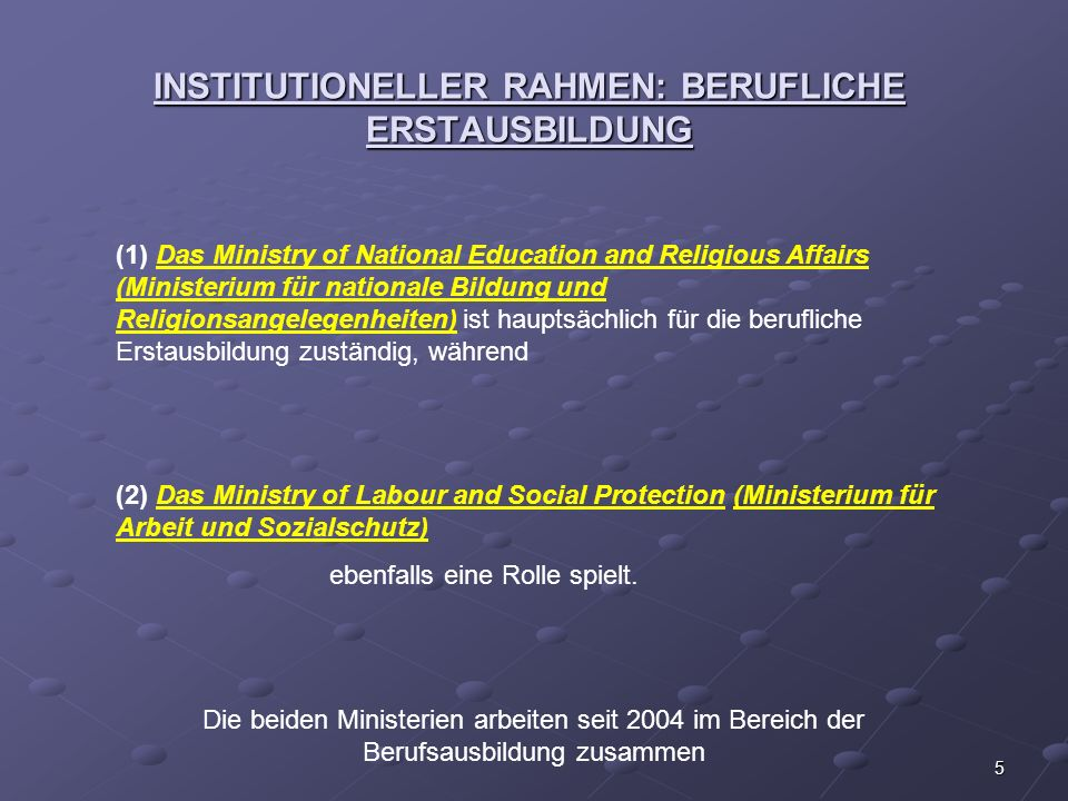 INSTITUTIONELLER RAHMEN: BERUFLICHE ERSTAUSBILDUNG