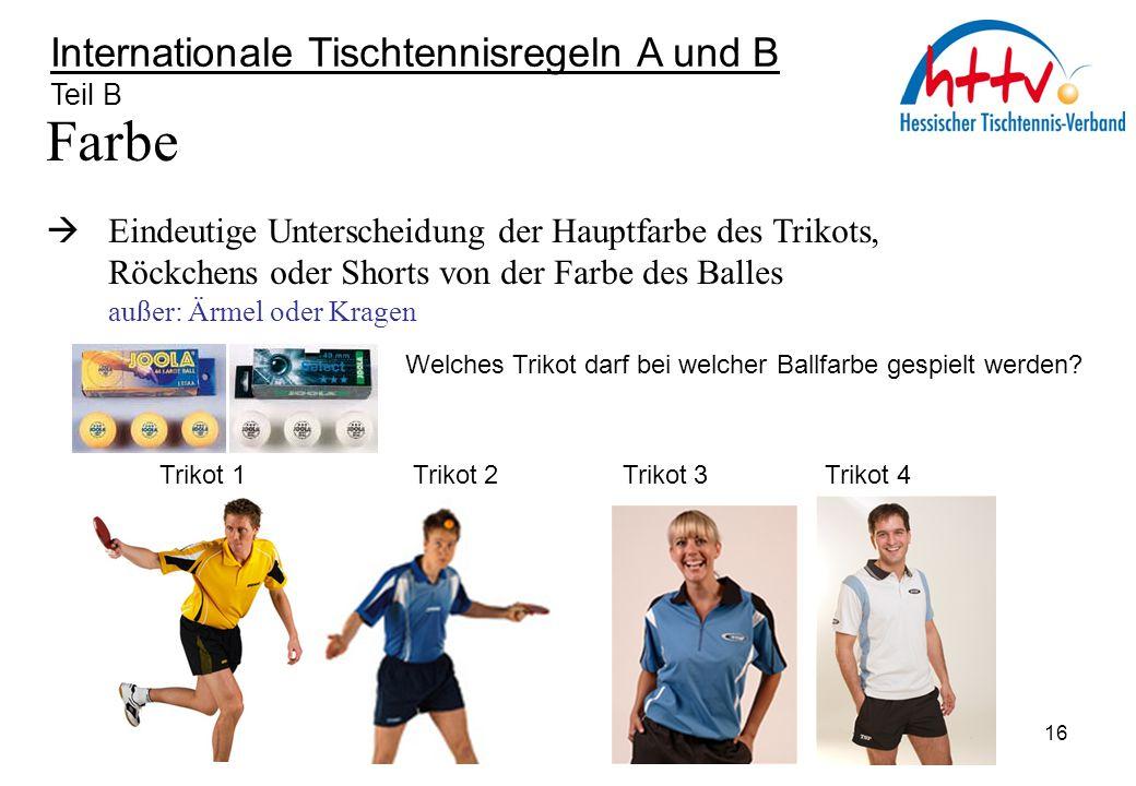 Farbe Internationale Tischtennisregeln A und B