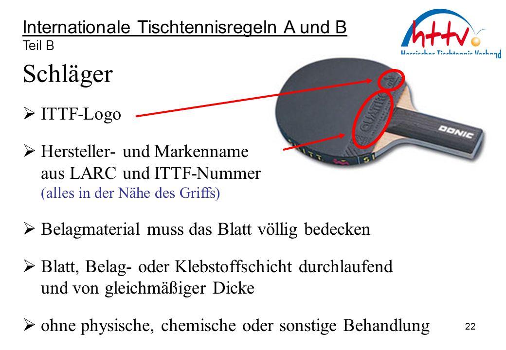 Schläger Internationale Tischtennisregeln A und B ITTF-Logo