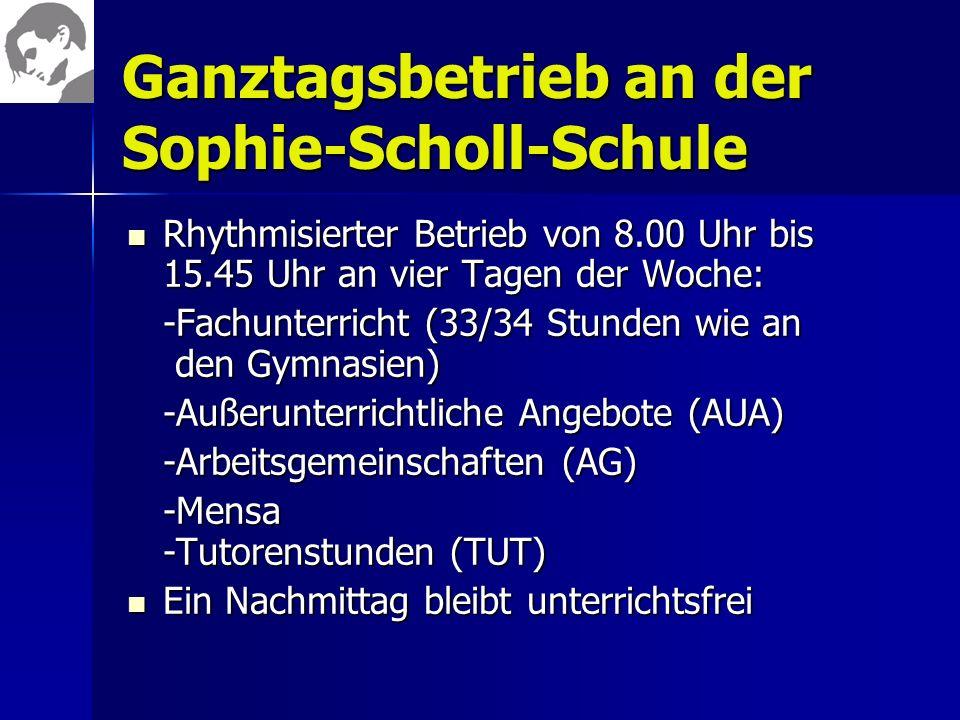 Ganztagsbetrieb an der Sophie-Scholl-Schule
