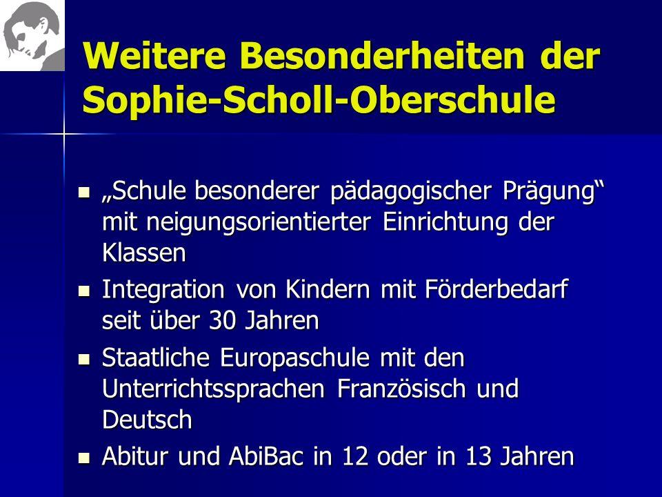 Weitere Besonderheiten der Sophie-Scholl-Oberschule