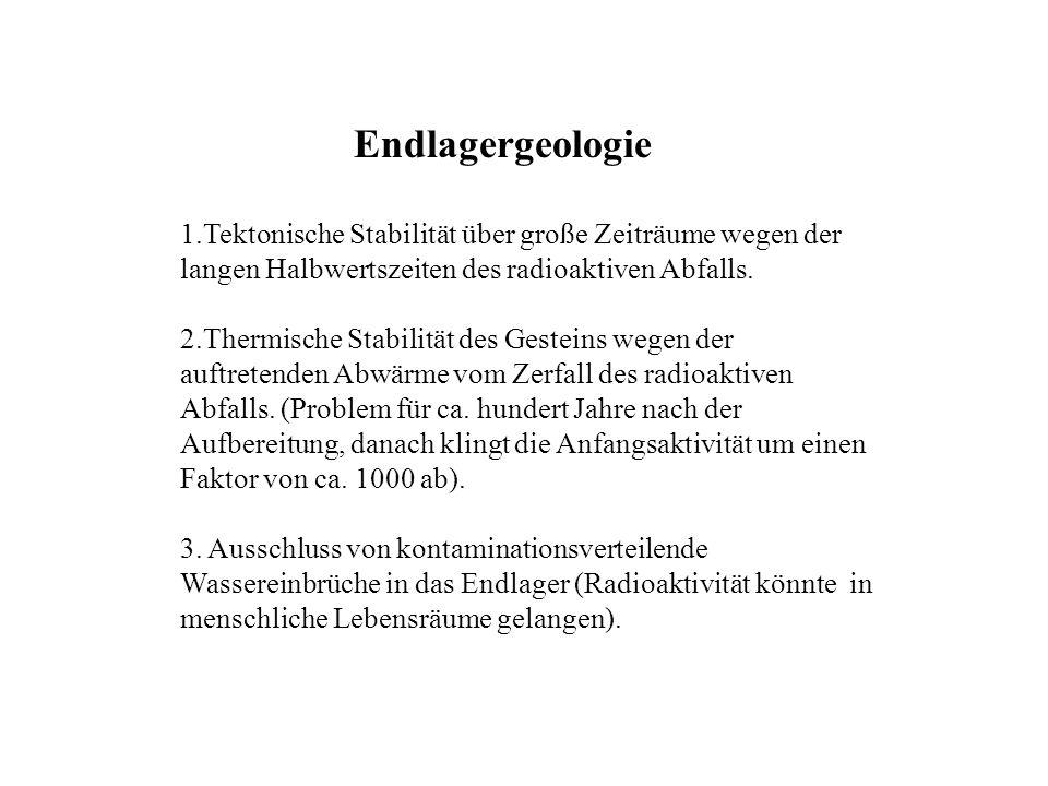 Endlagergeologie 1.Tektonische Stabilität über große Zeiträume wegen der langen Halbwertszeiten des radioaktiven Abfalls.