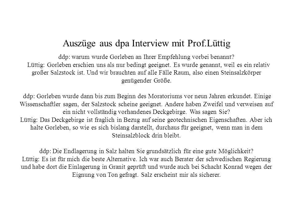Auszüge aus dpa Interview mit Prof.Lüttig