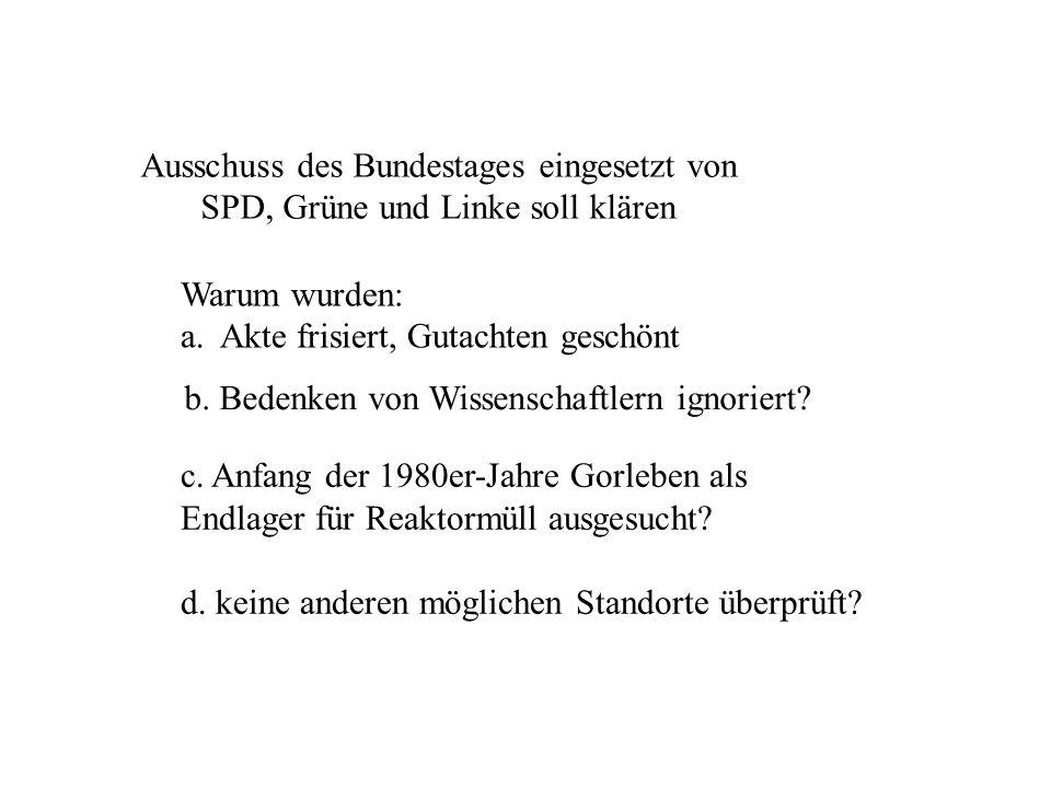 Ausschuss des Bundestages eingesetzt von SPD, Grüne und Linke soll klären