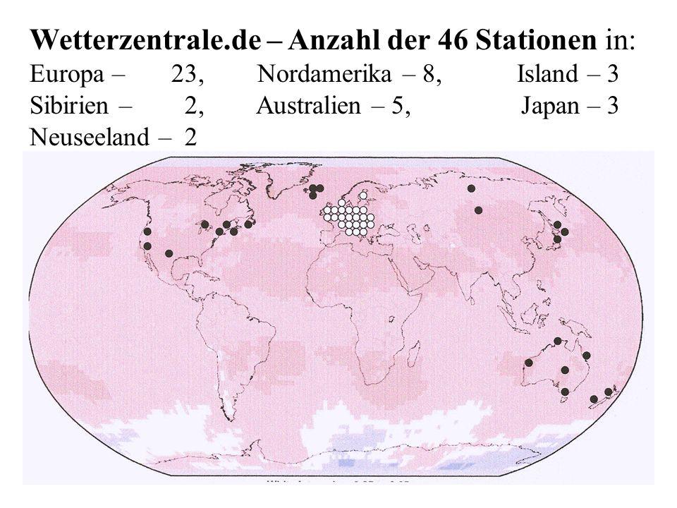 Wetterzentrale. de – Anzahl der 46 Stationen in: Europa –