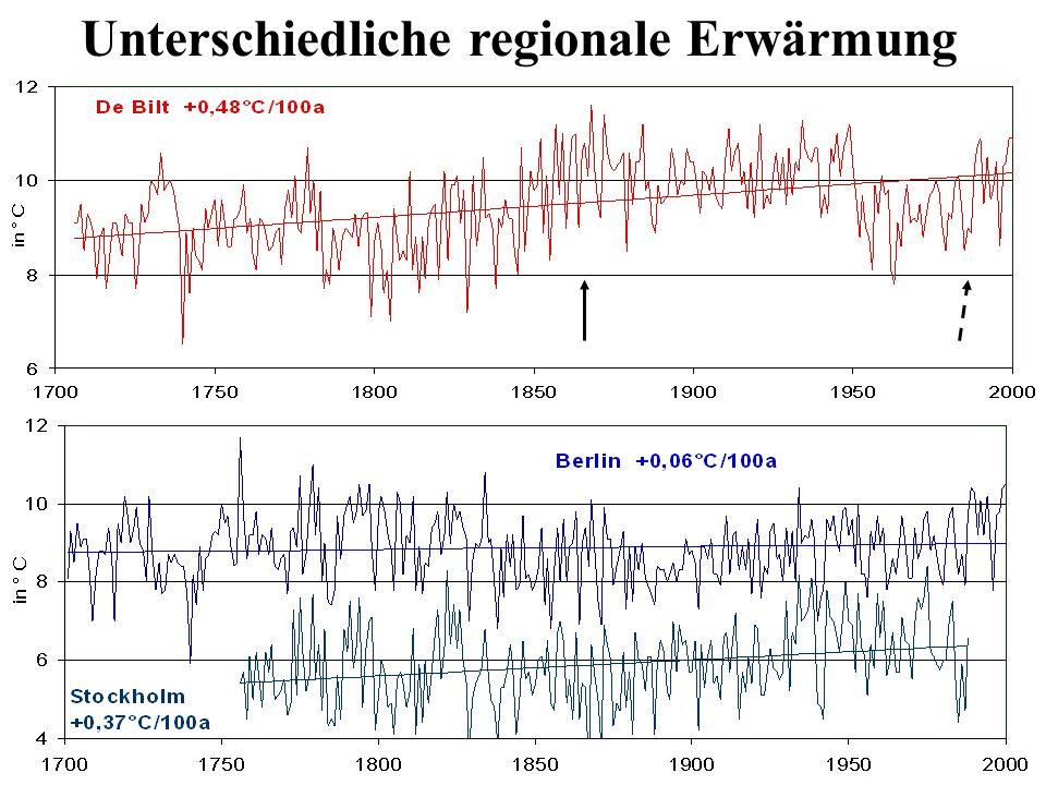Unterschiedliche regionale Erwärmung