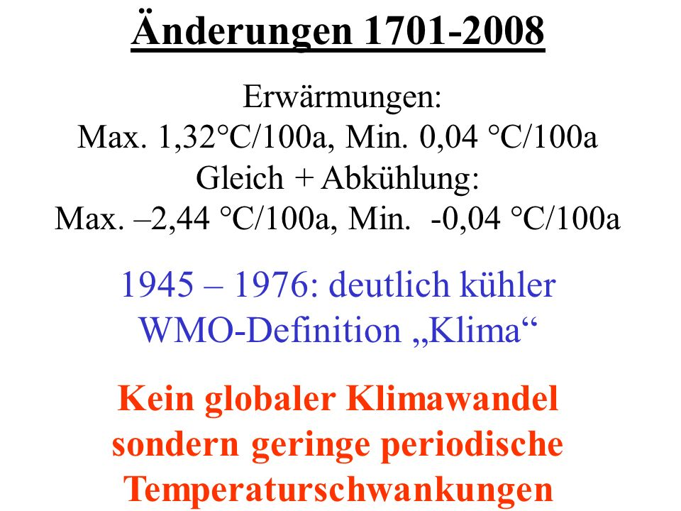 """1945 – 1976: deutlich kühler WMO-Definition """"Klima"""