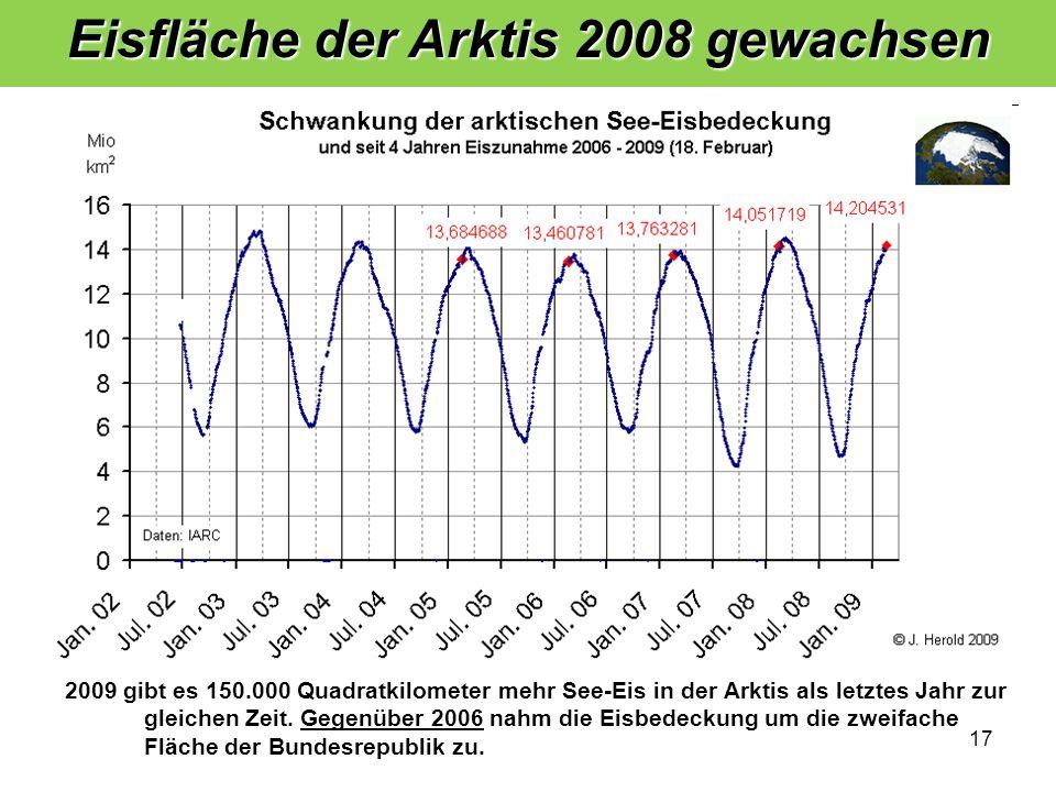 Eisfläche der Arktis 2008 gewachsen