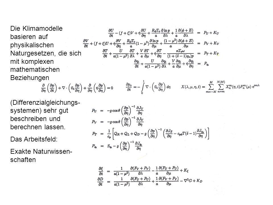 Die Klimamodelle basieren auf physikalischen Naturgesetzen, die sich mit komplexen mathematischen Beziehungen