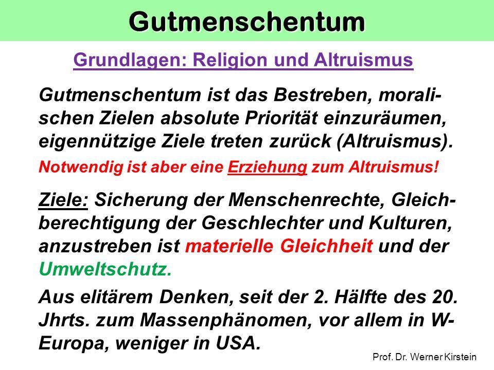Gutmenschentum Grundlagen: Religion und Altruismus
