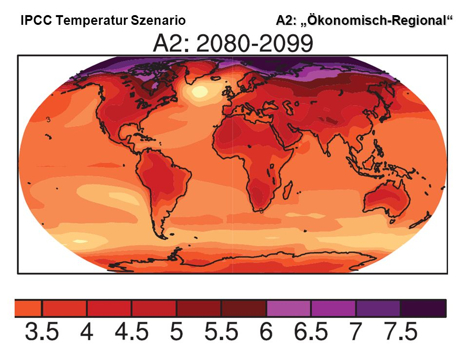"IPCC Temperatur Szenario A2: ""Ökonomisch-Regional"