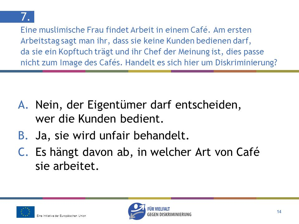 7. Eine muslimische Frau findet Arbeit in einem Café