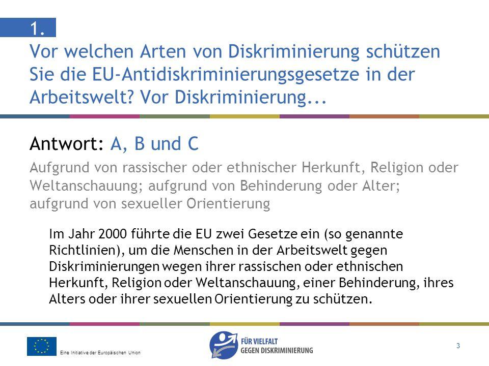 1. Vor welchen Arten von Diskriminierung schützen Sie die EU-Antidiskriminierungsgesetze in der Arbeitswelt Vor Diskriminierung...