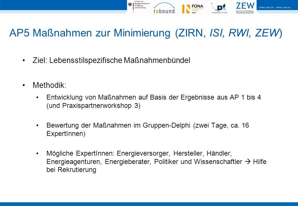 AP5 Maßnahmen zur Minimierung (ZIRN, ISI, RWI, ZEW)