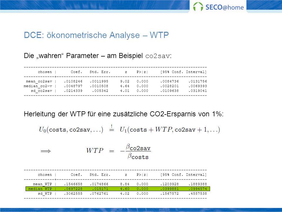 DCE: ökonometrische Analyse – WTP