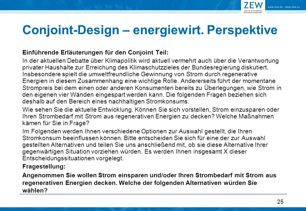 Conjoint-Design – energiewirt. Perspektive