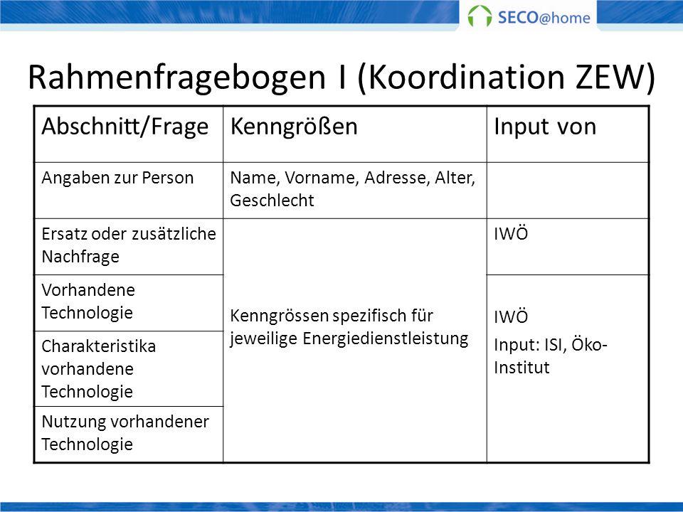 Rahmenfragebogen I (Koordination ZEW)