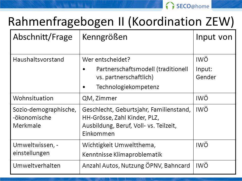 Rahmenfragebogen II (Koordination ZEW)