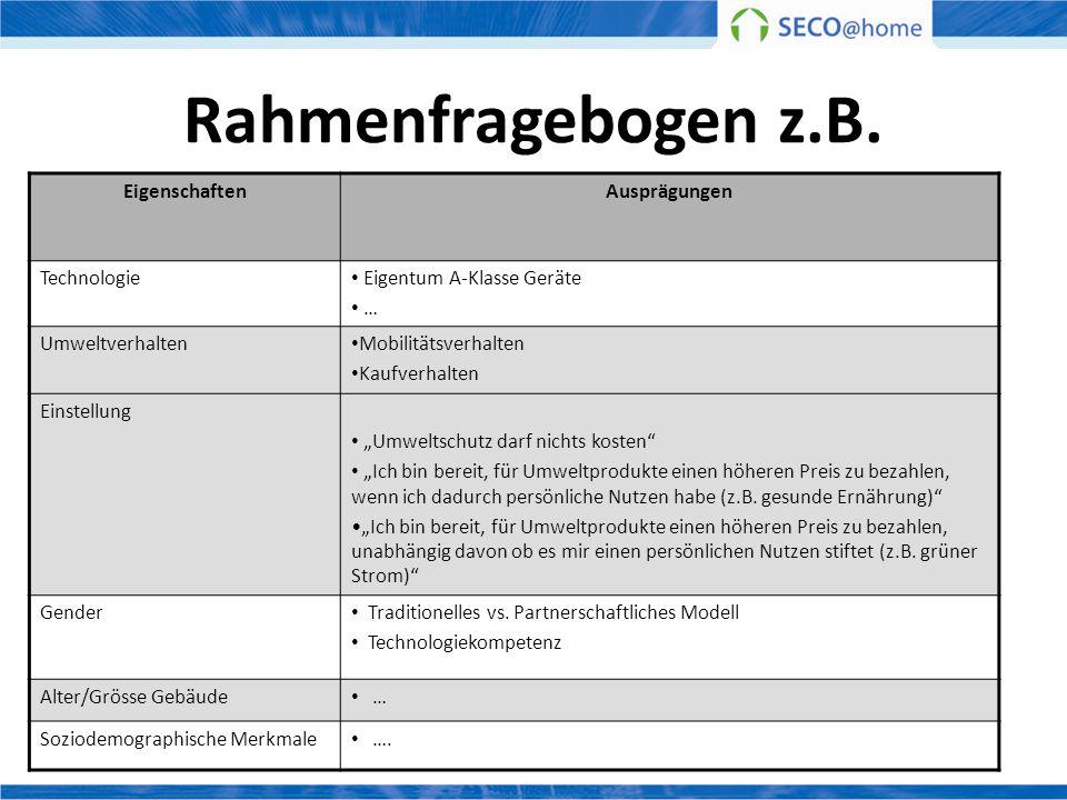 Rahmenfragebogen z.B. Eigenschaften Ausprägungen Technologie