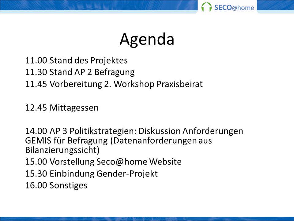 Agenda 11.00 Stand des Projektes 11.30 Stand AP 2 Befragung