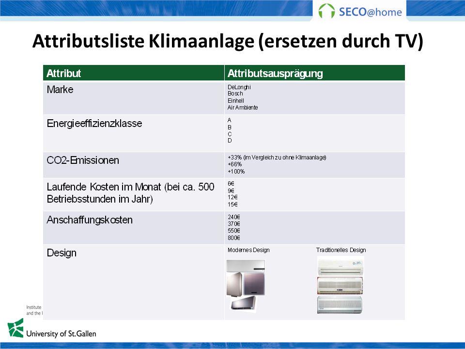 Attributsliste Klimaanlage (ersetzen durch TV)