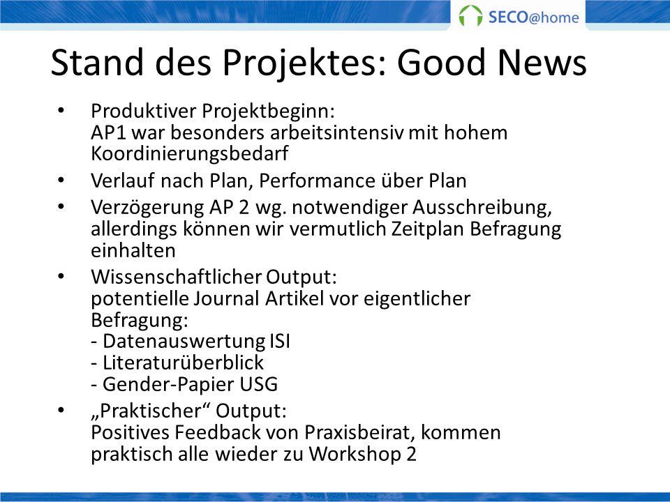 Stand des Projektes: Good News