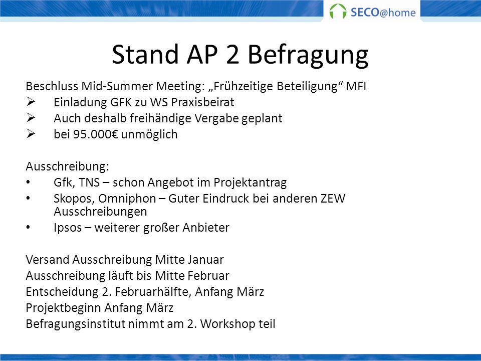 """Stand AP 2 BefragungBeschluss Mid-Summer Meeting: """"Frühzeitige Beteiligung MFI. Einladung GFK zu WS Praxisbeirat."""